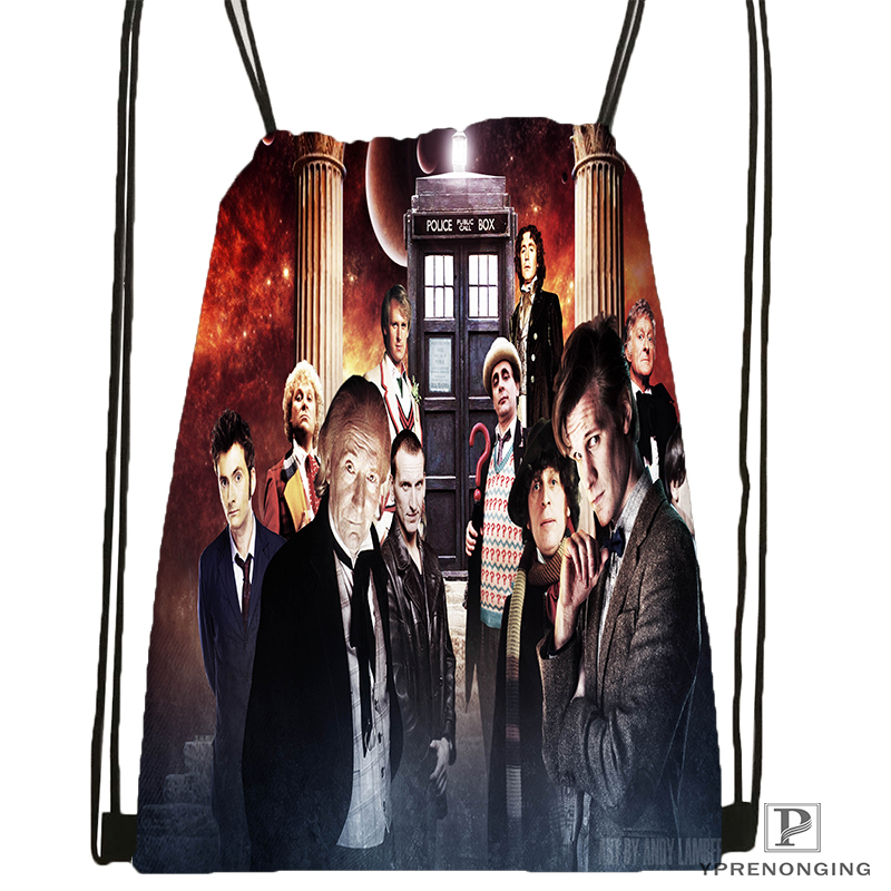Custom DOCTOR  WHO Drawstring Backpack Bag Cute Daypack Kids Satchel (Black Back) 31x40cm#180531-04-73