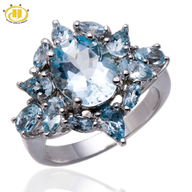 Hutang Natural Aquamarine Gemstone Solid 925 Sterling Silver Cocktail Ring Luxury Fine Jewelry