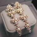 2015 Wedding Earring Jewelry Accessories For Women, Luxury Gold Plated Pearl Beaded Flower Rhinestone Long Dangle Drop Earrrings