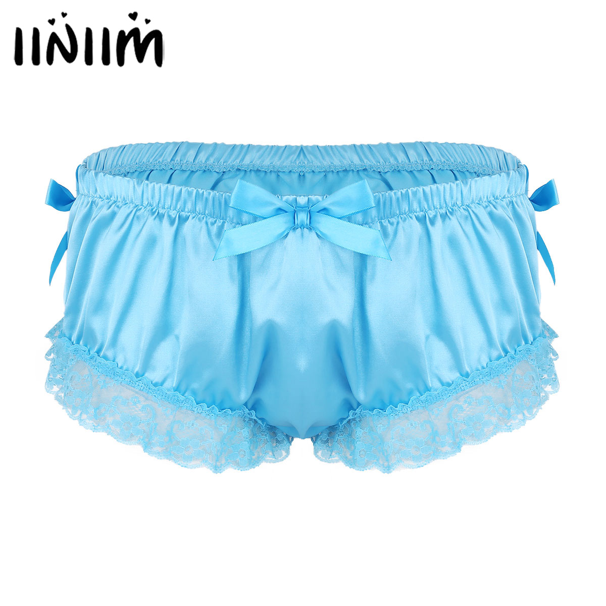 fc858367ffde Mens Sexy Gay Lingerie Panties Shiny Satin Ruffled Floral Lace Cute Bowknot  Knickers Bedtime Briefs Male