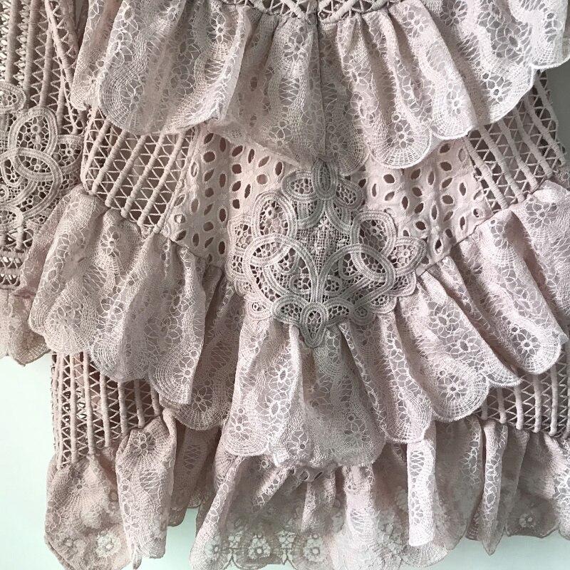 Florale Couches Piste Similaire Évider Vintage Robe Stand Beige Parti Col rose Dentelle Femmes Designer Ruches Mini Cour S58qwWT8
