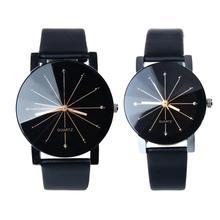1 пара мужские и женские часы с кварцевым циферблатом кожаные Наручные круглый чехол для часов для влюбленных часы женские мужские DE14 Прямая