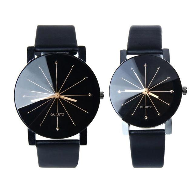 1Pair Men and Women Quartz Dial Clock Leather Wrist Watch Round Case Lovers Watc