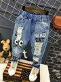 2016 новая мода детская одежда 2-7лет Корейский Малыш мальчик джинсы Детские Джинсы брюки для мальчиков мальчиков разорвал брюки брюки