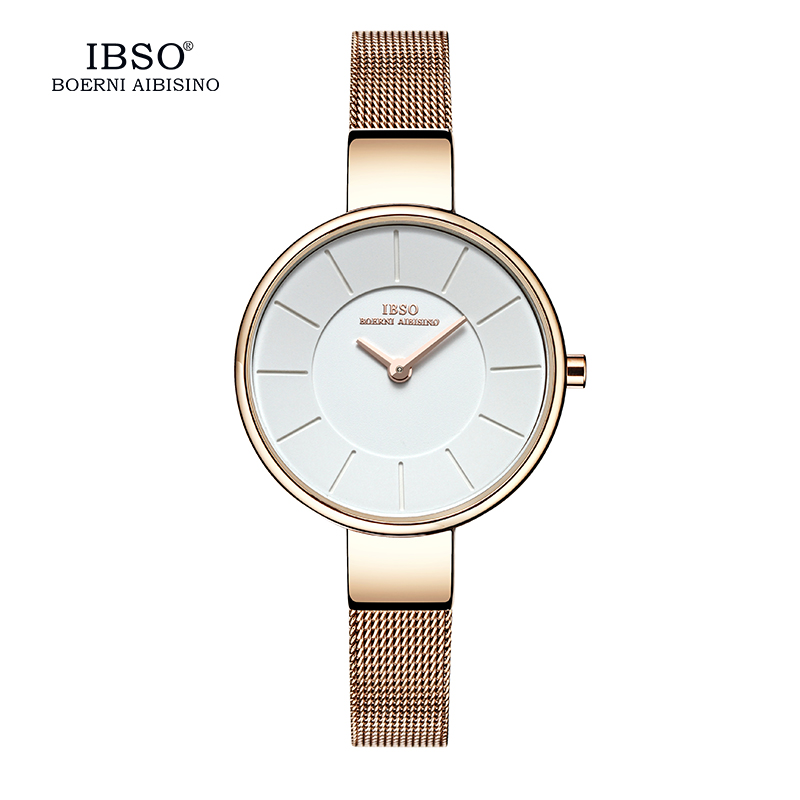 IBSO Brand 6.5MM Ultra-Thin Quartz Watch Kvinnor Stainless Steel Mesh And Leather Strap Kvinnor Klockor 2019 Fashion Montre Femme