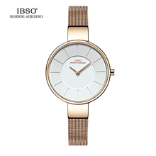 IBSO Brand 6.5MM Ultra-Thin Quartz Watch Women Stainless Steel Mesh And Leather Strap Women Watches 2017 Fashion Montre Femme