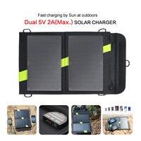 14 w 5 v panel solar cargador solar banco de la energía de salida dual acampar al aire libre del cargador del teléfono móvil para iphone ipad samusng y así en.