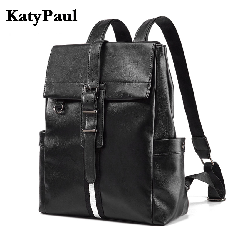 KatyPaul Men's Brand Leather Business Laptop Daypacks Male College Students School Bag Casual Backpack Travel Bags Mochila dispalang personalized geometric backpack for laptop notebook school bags for college students men s travel bag rucksack mochila