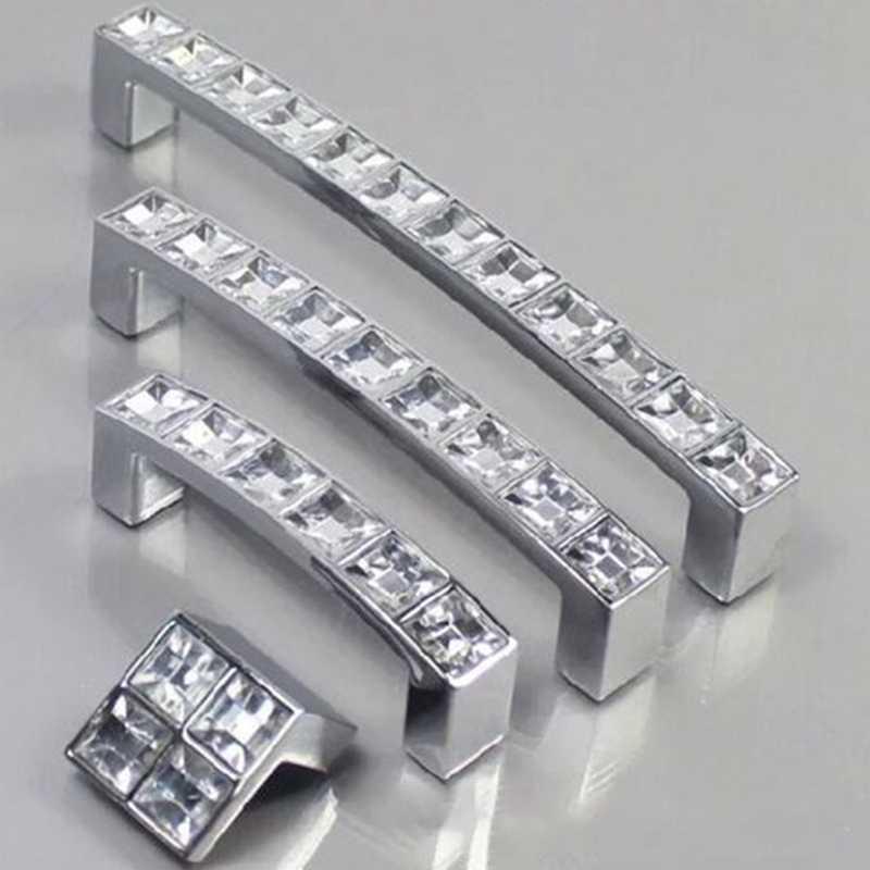 Diamond Crystal Chrome Drawer Pull Handles Cupboard Door Knob Cabinet WardrobeIB