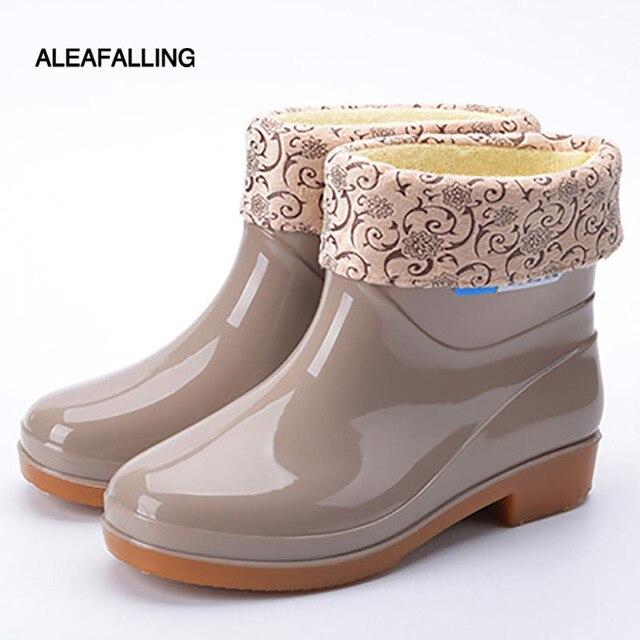 Aleafalling Kadın yağmur çizmeleri Kalınlaşmak Kapak Su Geçirmez Ayakkabı Unisex Anti-atlama Bahçe Mutfak Emek Ayakkabı Araba Yıkama Ayakkabı 201966