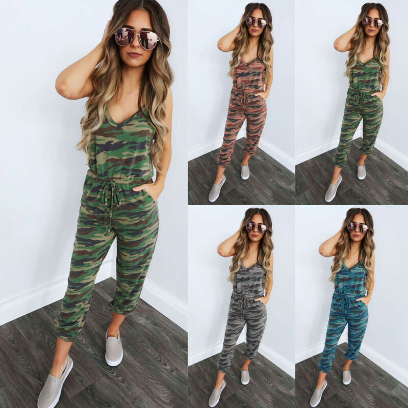 Women Strap Loose Jumpsuit Dungaree Ladies Casual Overall Pant Camouflage Trousers Autumn Pantalon Femme