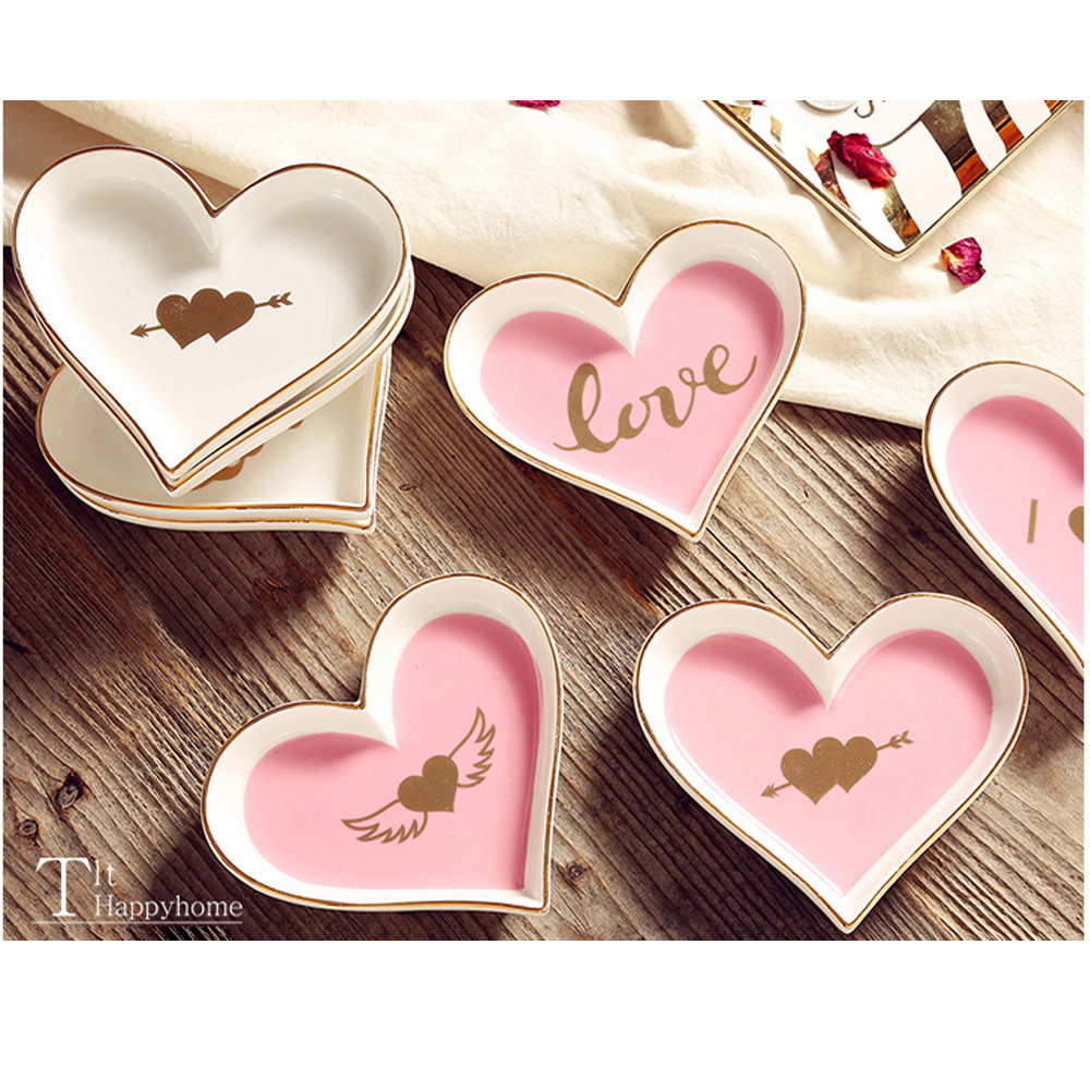 NEW luxury ceramic love plate exquisite heart-shaped gilt small dish jewelry storage decorative woman gift