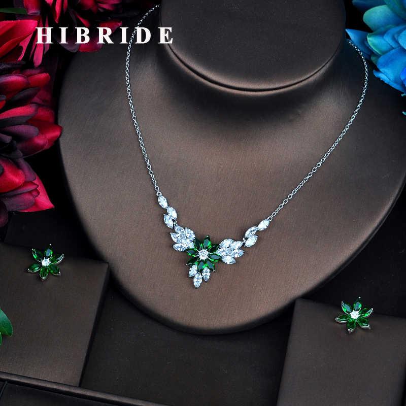 HIBRIDE Luxus AAA Cubic Zirkon Weiß Gold Frauen Braut Schmuck Sets Hochzeit Halskette Zubehör Bijoux N-531