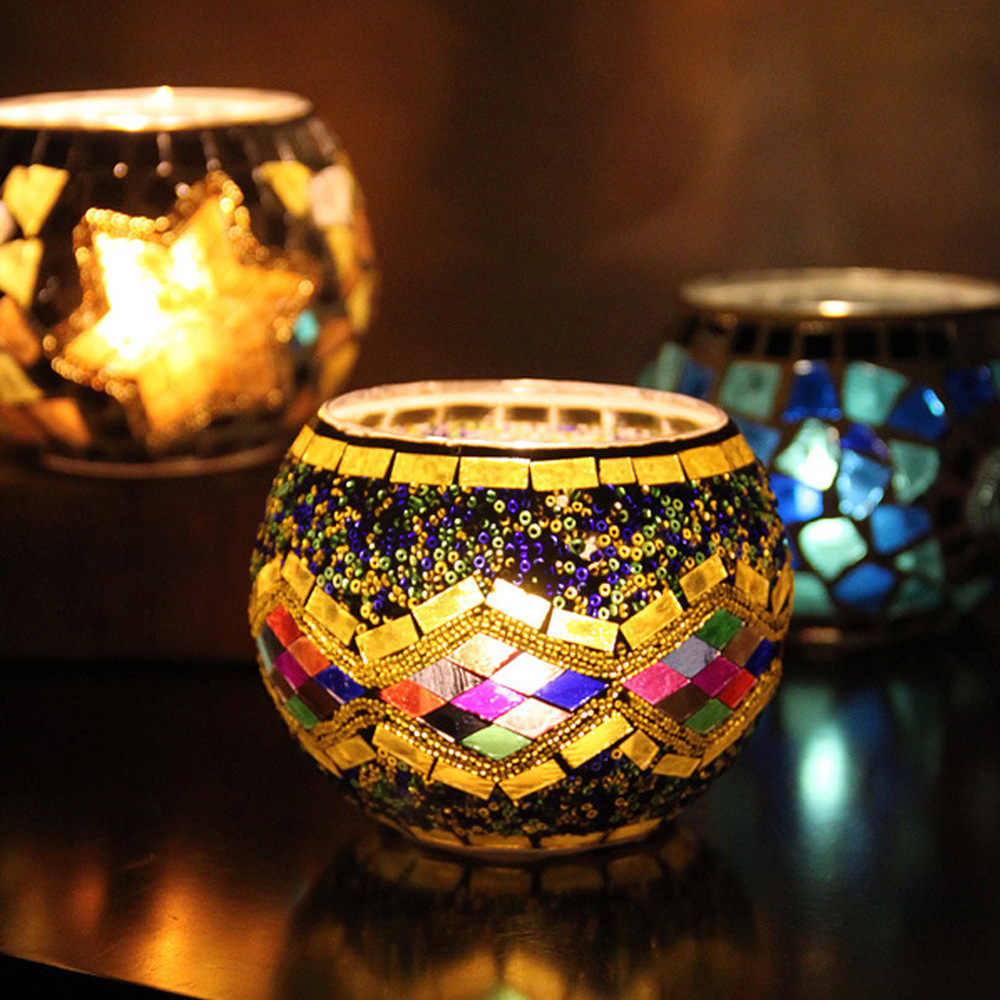 Moroccan Style Mosaic Glass Candle Holder Romantic Elegant Handmade Candle Light Dinner Wedding Party Candle Sticks Lamp