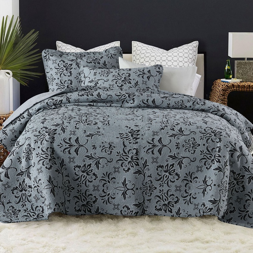 CHAUSUB Bedspread Cotton Quilt Set 3PCS Vintage Printed Quilts Quilted Coverlet Bed Cover Pillowcase King Queen Size Gray ColorCHAUSUB Bedspread Cotton Quilt Set 3PCS Vintage Printed Quilts Quilted Coverlet Bed Cover Pillowcase King Queen Size Gray Color