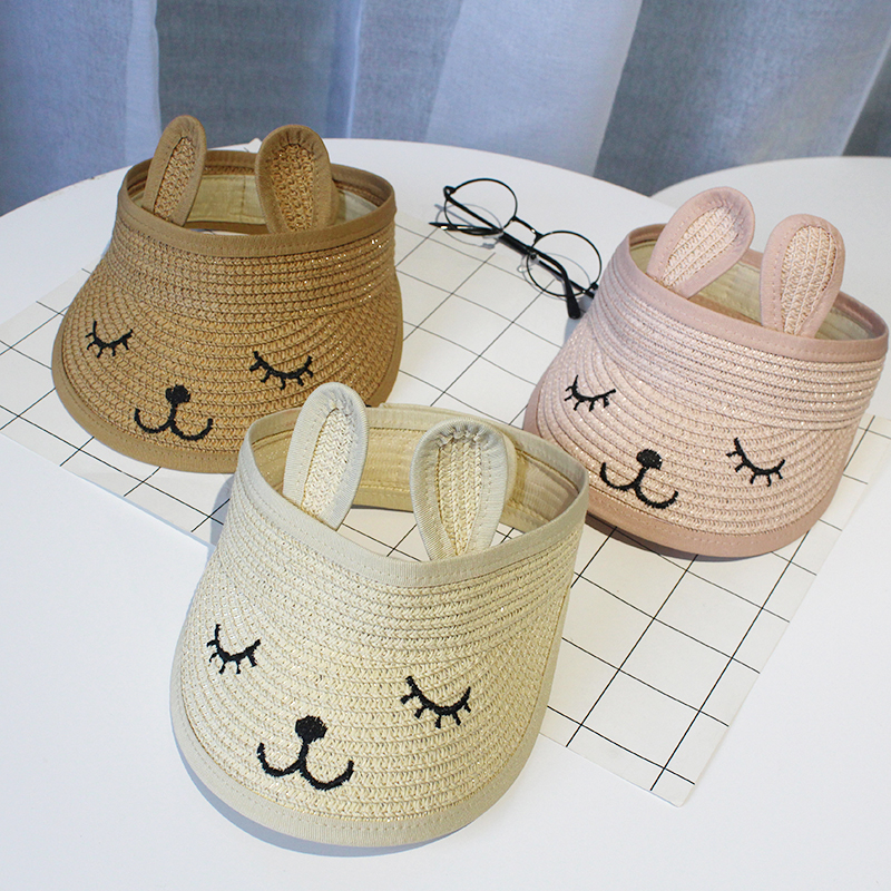 Summer Children 39 s Cat Empty Top Straw Hat Korean Casual Shade Sunscreen Beach Sun Hat For Kids in Hats amp Caps from Mother amp Kids