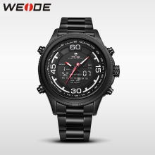 WEIDE 2017 genuine top brand luxury sport watch watch stainless steelin quartz LCD watches water resistant analog army clock men