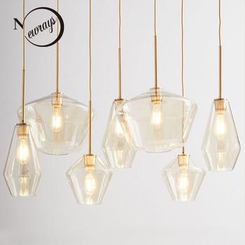 Скандинавские современные минималистичные стекло одной головы подвесные светильники для гостиной спальня кабинет прикроватный коридор, р...