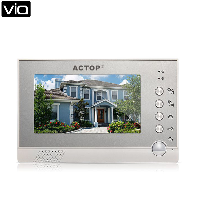 ACTOP VDP-316 Direct Factory Night Vision Camera 7 LCD Video Door Phone Home Entry Intercom Doorbell IR Touch Screen Monitor 7 inch video doorbell tft lcd hd screen wired video doorphone for villa one monitor with one metal outdoor unit night vision