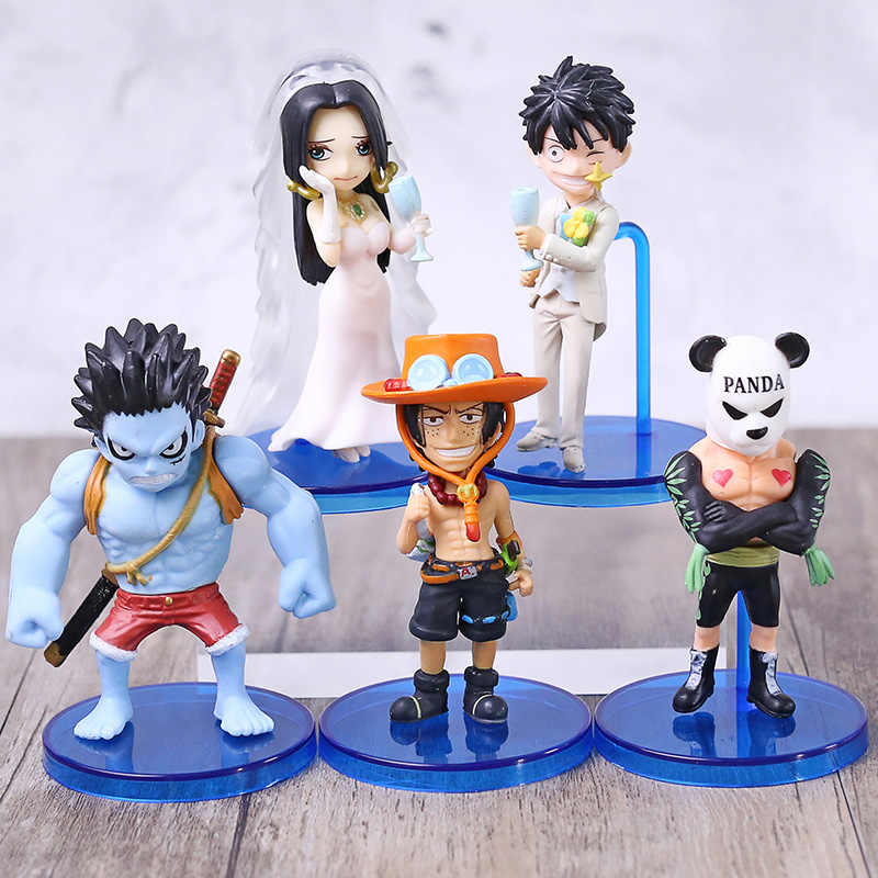 Anime 5 pcs Een Stuk Luffy Nightmare Ace Trouwjurk Boa Hancock Panda Man WCF PVC Action Figure Collection Model speelgoed Pop