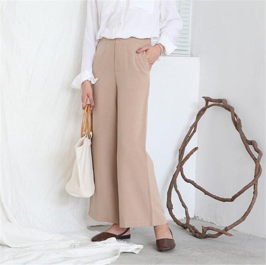MLCRIYG Pure color high waist simple micro lax broad leg pants nine sub pants