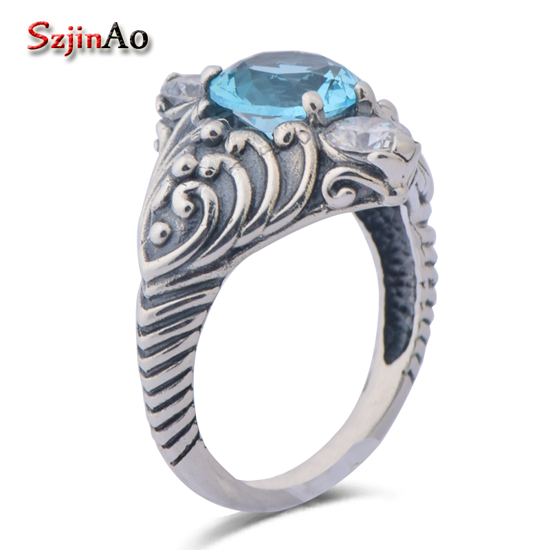 Szjinao soild 925 sterling silver ancient roman style silver aquamarine women finger silver rings for women