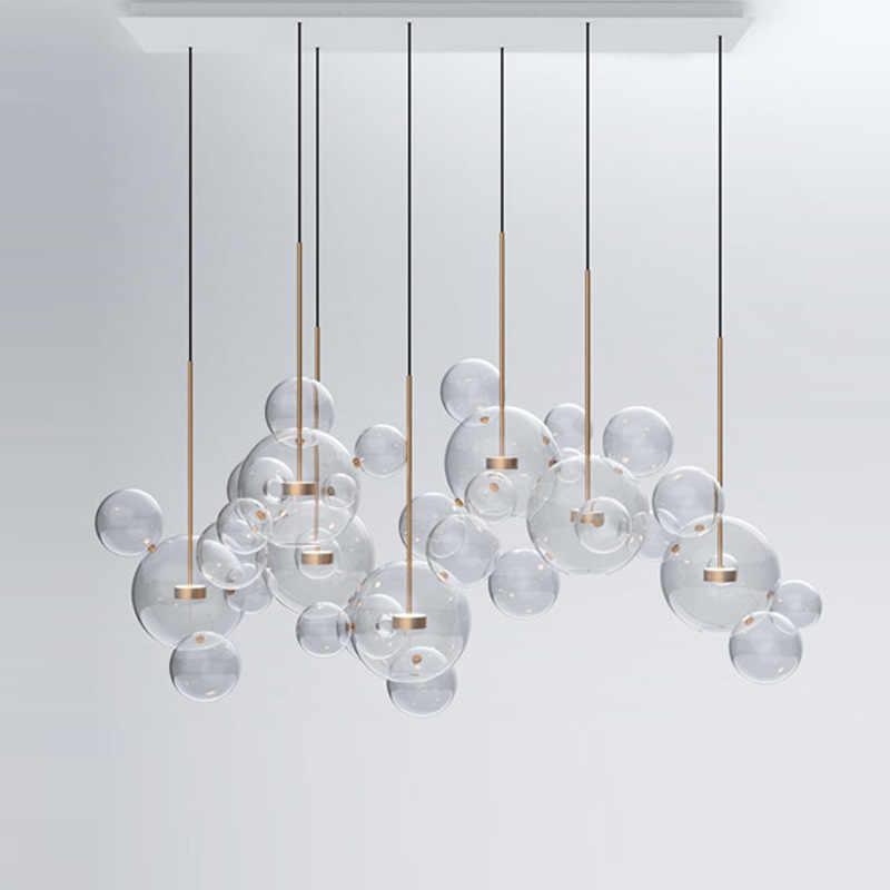 Modern criativo bola bolha de vidro transparente LEVOU luzes pingente cozinha quarto loja sala iluminação interior luminária decorativa