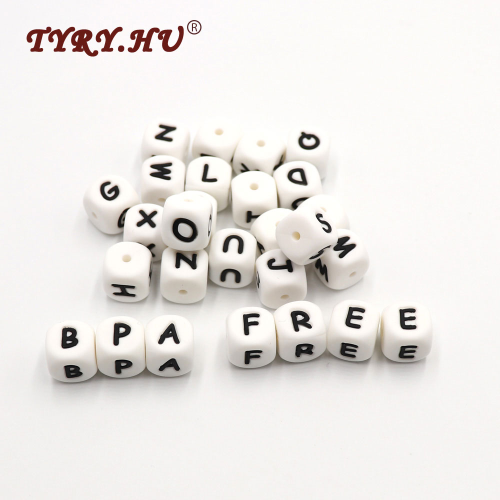 TYRY.HU 200Pcs 12mm Silicone Letter Beads Food Grade Teething Nursing Loose Silicone Beads Chewing Pacifier Chain Teether Bead