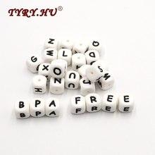 TYRY.HU anneau de dentition en Silicone, 200 pièces, perles avec lettres de 12mm, de qualité alimentaire, allaitement, en vrac, sucette chaîne, à mâcher