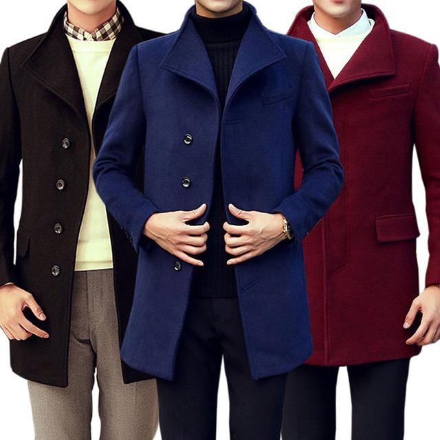 2017 Nova Moda Plus Size Homens Casaco de Inverno Casacos de Lã Longo Casaco de Trincheira Ao Ar Livre de Alta Qualidade LB