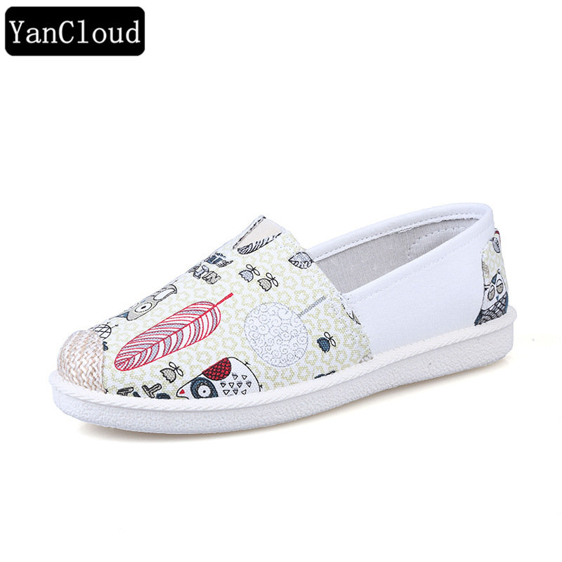 New 2018 Fashion Spring Women Casual Shoes Slip On Loafers Women's Flats Canvas Breathable Footwear Espadrilles Zapatos LT002 tesilixiezi new spring summer fashion candy color bling flats platform shoes wegde breathable women casual shoes footwear