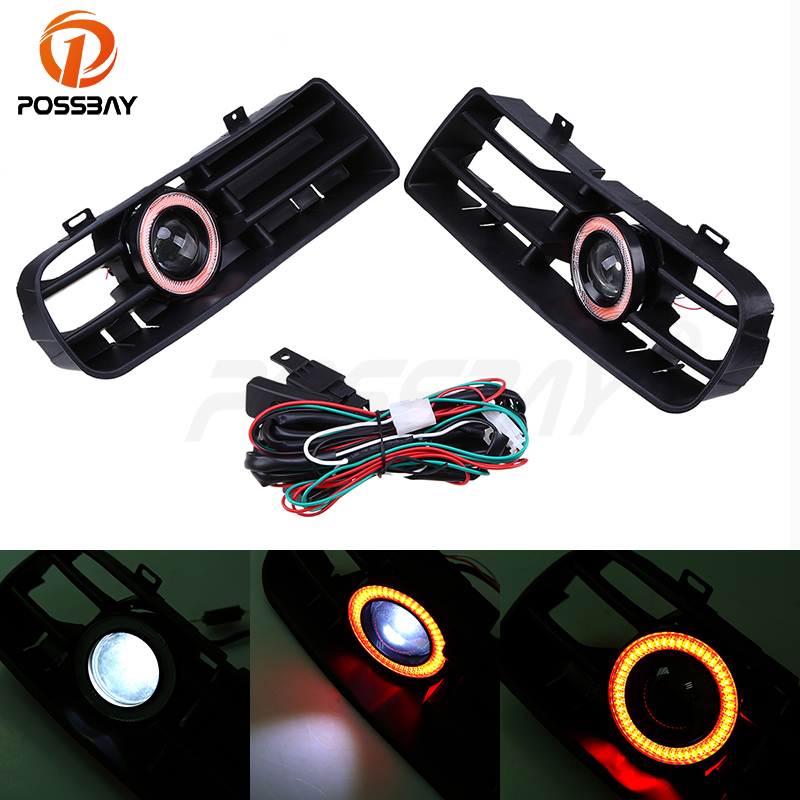 POSSBAY Fog Lights Assembly LED Red Angel Eyes Front Bumper Grilles Cover With Wire Harness Switch Fit for VW MK4 1998/1999-2006 for lincoln ls 2005 2006 h11 wiring harness sockets wire connector switch 2 fog lights drl front bumper led lamp