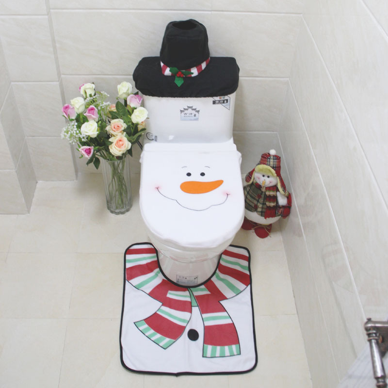 3pcs Set Hot Sale Christmas Snowman Toilet Bowl Set