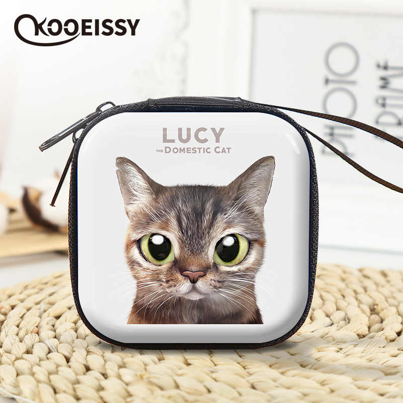 Cute Cat Earphone Wire Organizer Box Data Line Cables Storage Box Coin Candy Case Headphone Protective Box Case Container