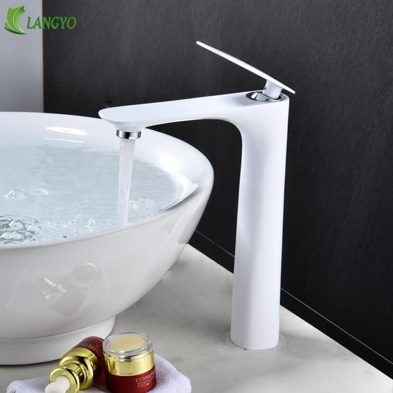 LANGYO robinet de bassin blanc Face unique support unique trou monté évier robinets froid et chaud mélangeur pour salle de bain chrom grand bassin robinet