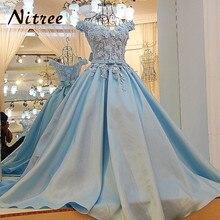 Потрясающие Голубой длинные вечерние платья корсет с плеча Элегантный Обручение платья для выпускного вечера с цветами vestido longo;