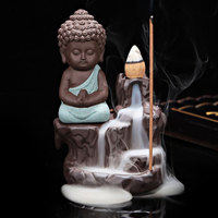 Creative Gift Home Decor Little Monk Buddha Censer Ceramic Incense Burner Buddha Purple Sand Clay Ceram