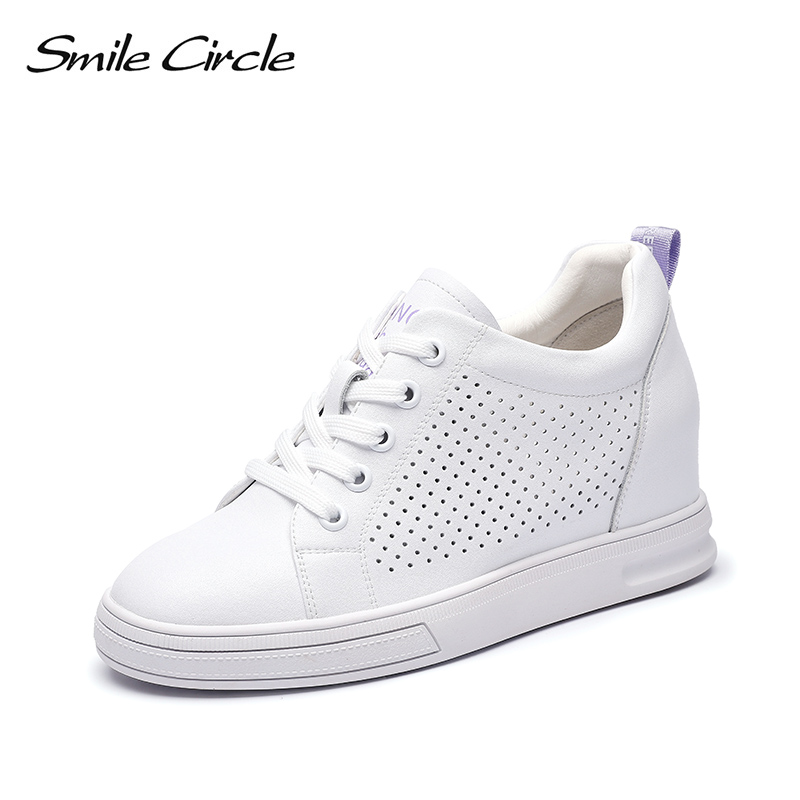 Smile Circle Wedges Sneakers Women Genuine Leather Casual Flat Platform Shoes Women Lace Up white Shoes