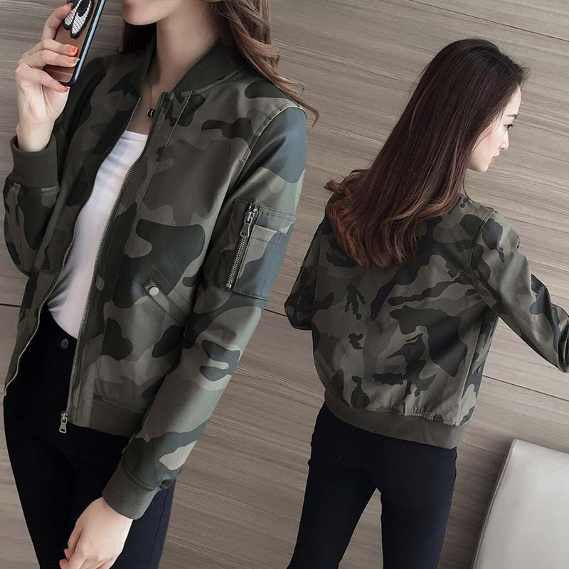 Motorcycle Jacket Short Spring Korean-Style Female Camouflage New Pu Slim Collar Washing