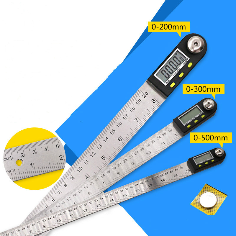 Digital display Angle Ruler 0- 300 / 500 Stainless Steel Angle Gauge Woodworking Angle Gauge  Meter Angle Ruler