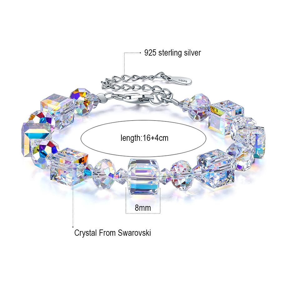 Us 25 19 30 Off Malanda Brand Square Crystals From Swarovski Bracelets Bangles Fashion Sterling Silver For Women Jewelry Gift In