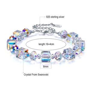 Image 5 - MALANDA marque cristaux carrés de Swarovski Bracelets Bracelets de mode en argent Sterling Bracelets Bracelets pour femmes bijoux cadeau