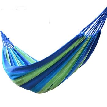 Light Sport Travel Camping Swing Net Outdoor Hammock Portable Garden Canvas Stripe Red, Rose Blue 190x80cm