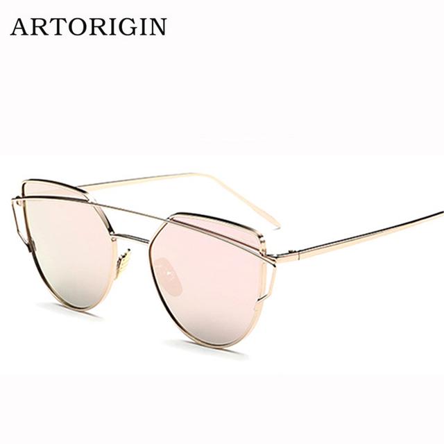 Newest Cat Eye Sunglasses Women Brand Designer Twin-Beams Sun Glasses Mirror Sunglasses Flat Panel Love Punch Clear Drop Ship