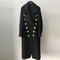 wool coat women long maxi coat winter gold button Cashmere Wool Blends coat 2018 luxury brand fashion warm coat high quality