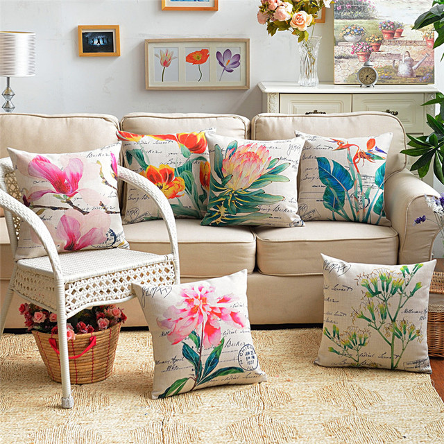 Wholesale Wedding Gift Nordic Beautiful Bright Flowers Stamp Letters Decorative Cushion Cover Home Office Sofa Decor