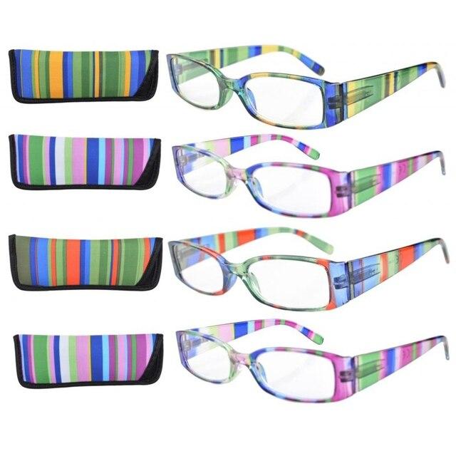 99ac8ad6c9 R040 raya templos bisagra del resorte plástico Gafas para leer (4 pares  mezcla) +