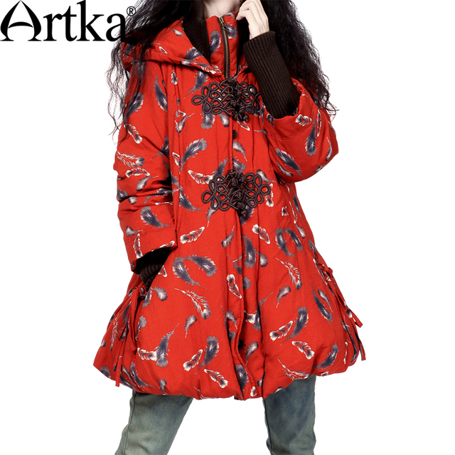 Artka das Mulheres Do Inverno Do Vintage Botões de Placa de Impressão Pena Wadded Jacket MA10423D HandmadeThickening