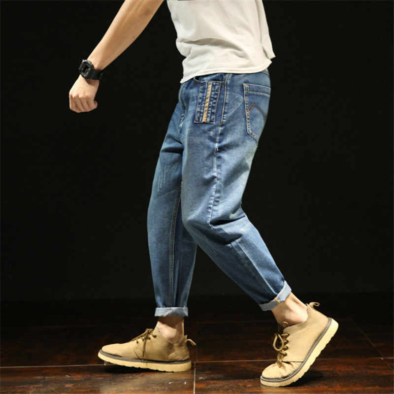Koele Mannen Jeans Baggy Blauwe Broek Katoen Toevallige Mannelijke Taille Gewassen Losse Denim Broek Nieuwe Hiphop Streetwear Masculino Pantalon