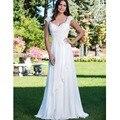 New Stock Vestido De Noiva White/Ivory Chiffon Applique Lace Wedding Dress Robe De Mariage Bridal Gown